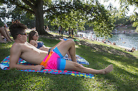 "Known for topless sunbathing and a good summer fun place to beat the brutal Texas summer heat, Barton Springs Pool is one of a kind and know as ""America's Best Swimming Pool."""
