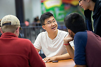 NWA Democrat-Gazette/JASON IVESTER<br /> Fayetteville senior Ryan Kim talks with other members of the school's Science Bowl team Thursday, May 4, 2017, at Fayetteville High School.
