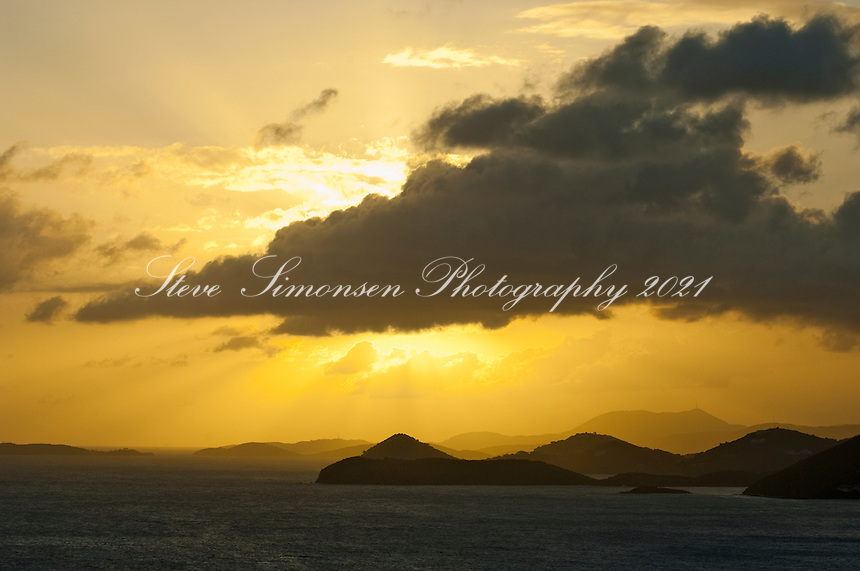 View at sunset looking west from the Tektite trail<br /> St John<br /> US Virgin Islands