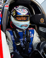 Aug 31, 2014; Clermont, IN, USA; NHRA top fuel driver Antron Brown during qualifying for the US Nationals at Lucas Oil Raceway. Mandatory Credit: Mark J. Rebilas-USA TODAY Sports