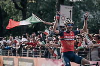 Vincenzo Nibali (ITA/Bahrain-Merida) arriving solo in Como, taking his 2nd Lombardia win<br /> <br /> Il Lombardia 2017<br /> Bergamo to Como (ITA) 247km