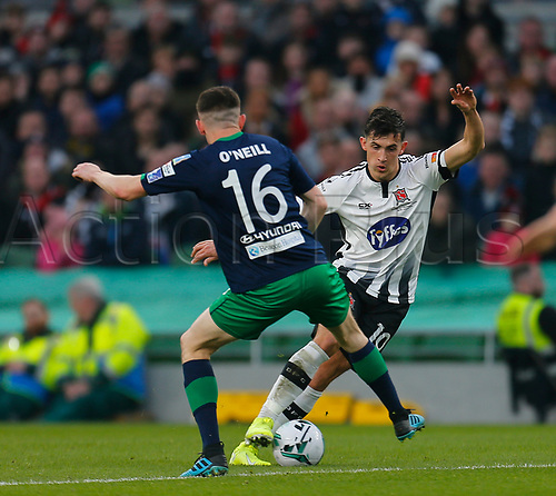 3rd November 2019; Aviva Stadium, Dublin, Leinster, Ireland; FAI Cup Final Football, Dundalk Football Club versus Shamrock Rovers; Jamie McGrath of Dundalk FC has the ball tackled away from him by Gary O'Neill of Shamrock Rovers - Editorial Use