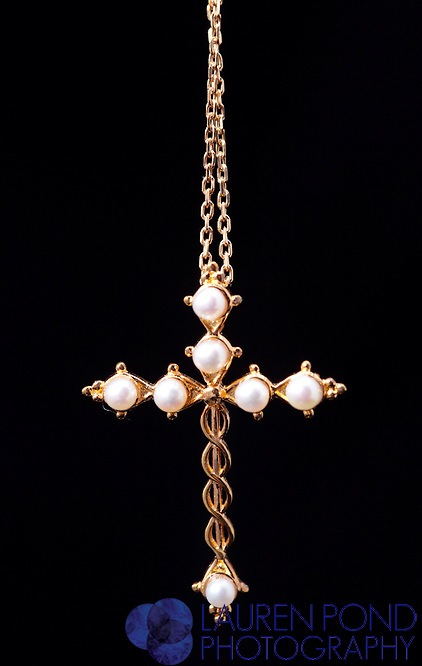 Laminin gold cross necklace with pearls