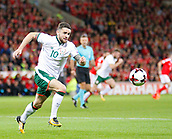 9th October 2017, Cardiff City Stadium, Cardiff, Wales; FIFA World Cup Qualification, Wales versus Republic of Ireland; Robbie Brady chases down the ball for Republic of Ireland