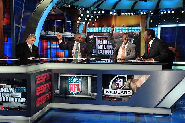 January  08, 2012 - Bristol, CT - Studio E:  Sunday NFL Countdown, Mike Ditka, Keyshawn Johnson, Cris Carter and Tom Jackson. .Credit: Joe Faraoni/ESPN