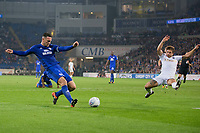 Sean Morrison of Cardiff City shoots at goal before Kenneth Zohore follows up to score Cardiff's third goal during the Sky Bet Championship match between Cardiff City and Leeds United at the Cardiff City Stadium, Cardiff, Wales on 26 September 2017. Photo by Mark  Hawkins / PRiME Media Images.