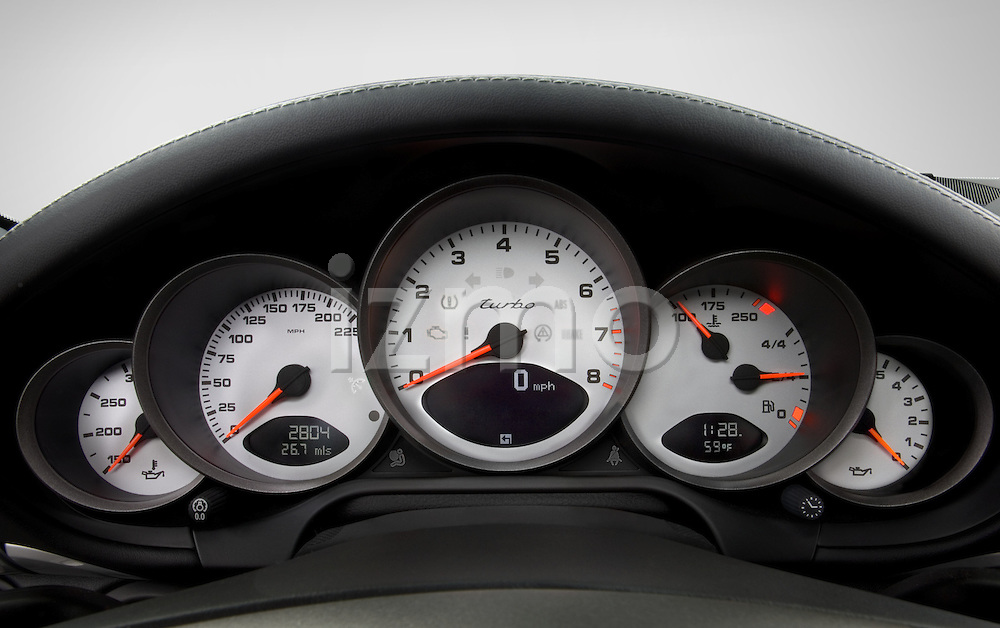 Instrument panel detail view of a 2007 Porsche 911 turbo coupe