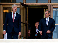 Chief Justice of the United States John G. Roberts, Jr., right, and Associate Justice of the Supreme Court of the United States Neil M. Gorsuch, left, pose for photos on the front steps of the US Supreme Court Building after the investiture ceremony for Justice Gorsuch in Washington, DC on Thursday, June 15, 2017. <br /> Credit: Ron Sachs / CNP /MediaPunch