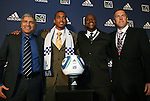 14 January 2010: Teal Bunbury was selected with the #4 overall pick by the Kansas City Wizards. From left: Octavio Zambrano, Teal Bunbury, Alex Bunbury, Peter Vermes. The 2010 MLS SuperDraft was held in the Ballroom at Pennsylvania Convention Center in Philadelphia, PA during the NSCAA Annual Convention.