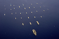 A formation of 34 ships from numerous navies led by USS Abraham Lincoln during the 2006 Rim of the Pacific Exercise.