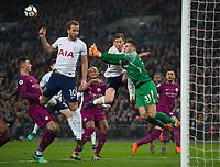 Manchester City Ederson Moraes and Tottenham's Jan Vertonghen during the Premier League match between Tottenham Hotspur and Manchester City at Wembley Stadium, London, England on 14 April 2018. Photo by Andrew Aleksiejczuk / PRiME Media Images.