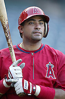 Bengie Molina of the Los Angeles Angels before a 2002 MLB season game at Angel Stadium, in Anaheim, California. (Larry Goren/Four Seam Images)
