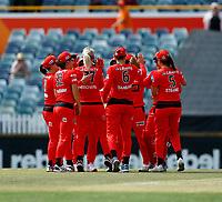 2nd November 2019; Western Australia Cricket Association Ground, Perth, Western Australia, Australia; Womens Big Bash League Cricket, Melbourne Renegades versus Sydney Sixers; Melbourne players celebrate a wicket - Editorial Use