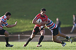 Sherwin Stowers tries to break through the midfield. Air New Zealand Air NZ Cup warm-up rugby game between the Counties Manukau Steelers & Tasman Mako's, played at Growers Stadium Pukekohe on Sunday July 20th 2008..Counties Manukau won the match 30 - 7.