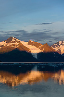 Cataract glacier at sunrise, Harriman Fjord, Chugach Mountains, Chugach National Forest, Alaska.