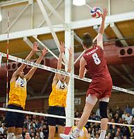 STANFORD, CA - March 10, 2018: Leo Henken at Burnham Pavilion. The Stanford Cardinal lost to UC Irvine, 3-0.