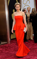 HOLLYWOOD, CA - MARCH 2: Jennifer Lawrence arriving to the 2014 Oscars at the Hollywood and Highland Center in Hollywood, California. March 2, 2014. Credit: SP1/Starlitepics. /NORTePHOTO