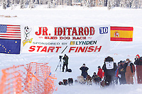 Sunday February 27, 2010   Aniton Guilrrno leaves the start line of the Junior Iditarod at Willow Lake , Alaska
