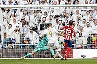 1st February 2020; Estadio Santiago Bernabeu, Madrid, Spain; La Liga Football, Real Madrid versus Atletico de Madrid; Karim Benzema (Real Madrid)  shoots and scores to make it 1-0 in the 56th minute