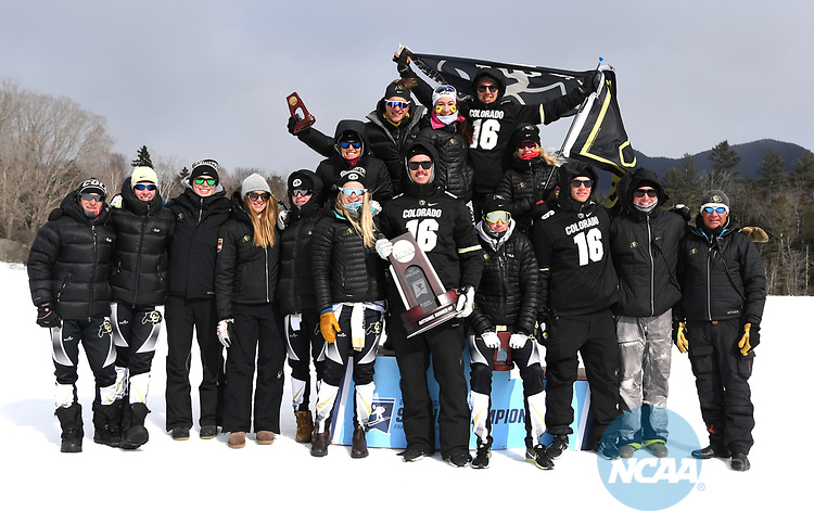 FRANCONIA, NH - MARCH 11:   Athletes and coaches of the University of Colorado celebrate their teams second place finish  at the Division I Men's and Women's Skiing Championships held at Jackson Ski Touring on March 11, 2017 in Jackson, New Hampshire. (Photo by Gil Talbot/NCAA Photos via Getty Images)