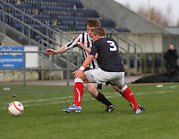 Kieran Doran takes on Kyle Turnbull at the Falkirk v St Mirren  Scottish Football Association Youth Cup 4th Round match played at the Falkirk Stadium, Falkirk on 16.12.12.