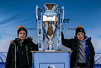 5th January 2020; Ricoh Arena, Coventry, West Midlands, England; English Premiership Rugby, Wasps versus Northampton Saints; Two young Wasps fans pose with the trophy before the game - Editorial Use