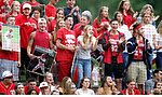 MIDDLETOWN CT. 09 June 2018-060918SV10- Wolcott fans cheer on their team against Seymour during the CIAC Class M baseball championship in Middletown Saturday. <br /> Steven Valenti Republican-American