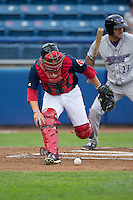Salem Red Sox catcher Jake Romanski (22) chases after the baseball during the game against the Winston-Salem Dash at LewisGale Field at Salem Memorial Ballpark on May 14, 2015 in Salem, Virginia.  The Red Sox defeated the Dash 1-0.  (Brian Westerholt/Four Seam Images)