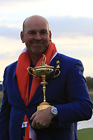 Team Captain Thomas Bjorn with the Ryder Cup after Team Europe win the 2018 Ryder Cup at Le Golf National, Ile-de-France, France. 30/09/2018.<br /> Picture Thos Caffrey / Golffile.ie<br /> <br /> All photo usage must carry mandatory copyright credit (© Golffile | Thos Caffrey)