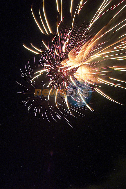 The fireworks over Drogheda on New Years Day..Picture Fran Caffrey Newsfile