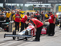 Sep 2, 2018; Clermont, IN, USA; Crew members for NHRA top fuel driver Doug Kalitta during qualifying for the US Nationals at Lucas Oil Raceway. Mandatory Credit: Mark J. Rebilas-USA TODAY Sports