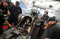 May 17, 2015; Commerce, GA, USA; Crew members with NHRA top fuel driver Larry Dixon during the Southern Nationals at Atlanta Dragway. Mandatory Credit: Mark J. Rebilas-USA TODAY Sports