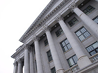 Pediment and columns of the Utah State Capitol Building.