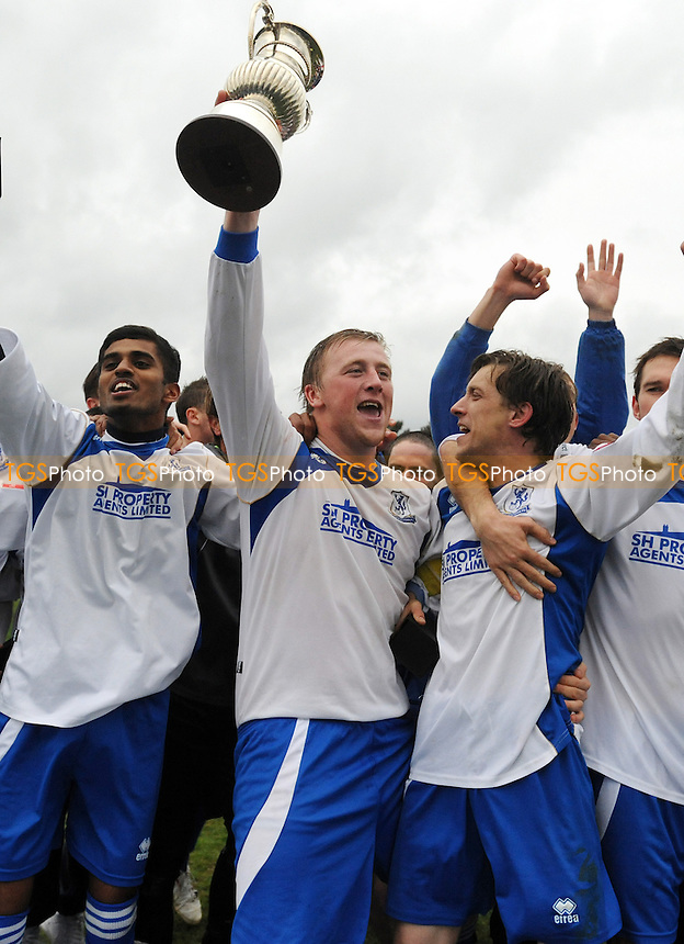 Enfield Town celebrate promotion. Captian Steve Kirby is in the centre, - Enfield Town vs Needham Market - Ryman League Division One North Play-Off Final at the Queen Elizabeth II Stadium - 06/05/12 - MANDATORY CREDIT: Anne-Marie Sanderson/TGSPHOTO - Self billing applies where appropriate - 0845 094 6026 - contact@tgsphoto.co.uk - NO UNPAID USE.