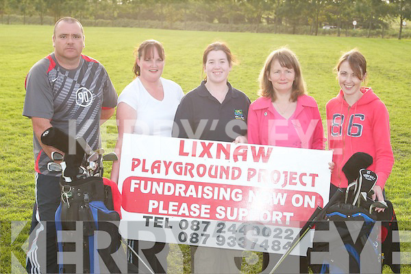 TEEING OFF: Members of the childrens playground organising committee at the launch in Lixnaw on Thursday evening of the golf tournament which will take place on September 29th were, from left, Garry Taylor, and Marie Murphy committee members, Marianne Barron, (Chairperson,) Aine Fealy (Treasurer,) Niamh Mannion (Secretary).
