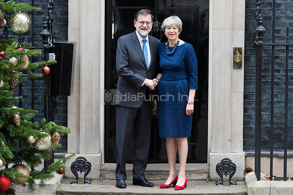 President of Spain Mariano Rajoy visits PM Theresa May at 10 Downing Street. London, UK. on December 5, 2017. Credit: Ik Aldama/DPA/MediaPunch ***FOR USA ONLY***