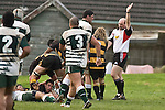 Jeremy Biggelaar peers back upfield after scoring early in the second half. Counties Manukau Premier Club Rugby game between Bombay & Manurewa played at Bombay on Saturday June 14th 2008..Bombay won 19 - 12 after leading 12 - 0 at halftime.
