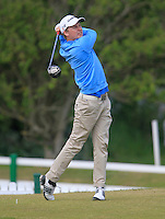 Simon Ward (Co. Louth) on the 1st tee during the 3rd round of the East of Ireland Amateur Open Championship 2013 Co Louth Golf club 3/6/13<br /> Picture:  Thos Caffrey / www.golffile.ie