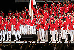 July 3, 2016, Tokyo, Japan - Japan's flag bearer Keisuke Ushiro (C) holds a large national flag at a send-off ceremony for Japanese Olympic delegation to Rio de Janeiro in Tokyo on Sunday, July 3, 2016. Some 300 athletes attended the event.  (Photo by Yoshio Tsunoda/AFLO) LWX -ytd-