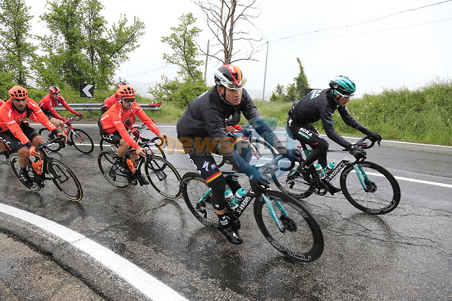 The peloton including German Champion Pascall Ackermann (GER) Bora-Hansgrohe climb over the Appenines and into Tuscany during a wet Stage 2 of the 2019 Giro d'Italia, running 205km from Bologna to Fucecchio, Italy. 12th May 2019.<br /> Picture: Eoin Clarke | Cyclefile<br /> <br /> All photos usage must carry mandatory copyright credit (© Cyclefile | Eoin Clarke)
