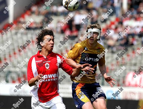 2010-04-25 / Voetbal / seizoen 2009-2010 / R. Antwerp FC - OH Leuven / Yannick Put (L, Antwerp) met Daan Vaesen..Foto: mpics