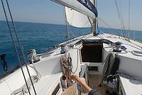 - sailing boat in navigation in Tyrrhenian sea....- barca a vela in navigazione nel mar Tirreno