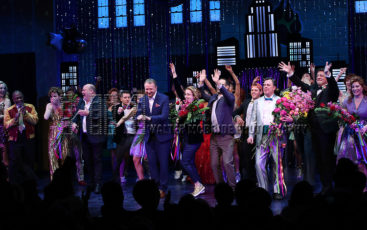 "Casey Nicholaw, Bob Martin and cast during the Broadway Opening Night Curtain Call of ""The Prom"" at The Longacre Theatre on November 15, 2018 in New York City."