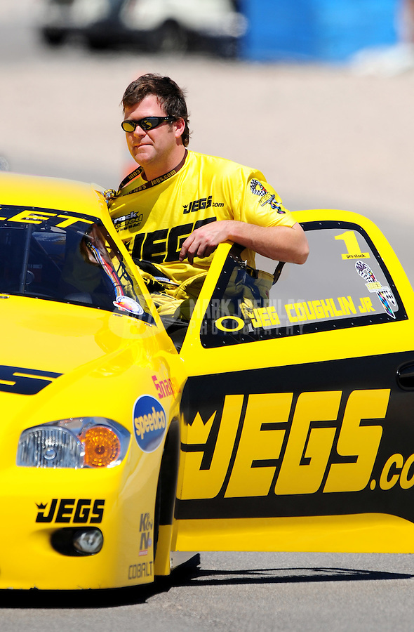 Apr. 13, 2008; Las Vegas, NV, USA: NHRA pro stock driver Jeg Coughlin Jr during the SummitRacing.com Nationals at The Strip in Las Vegas. Mandatory Credit: Mark J. Rebilas-