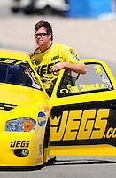 Apr. 13, 2008; Las Vegas, NV, USA: NHRA pro stock driver Jeg Coughlin Jr during the SummitRacing.com Nationals at The Strip in Las Vegas. Mandatory Credit: Mark J. Rebilas-