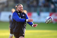 Tom Dunn of Bath Rugby passes the ball during the pre-match warm-up. European Rugby Challenge Cup match, between Bath Rugby and Pau (Section Paloise) on January 21, 2017 at the Recreation Ground in Bath, England. Photo by: Patrick Khachfe / Onside Images