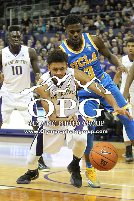 JAN 1, 2016:  Washington's #4 Matisse Thybulle scrambles for a loose ball against UCLA.  Washington defeated #25 ranked UCLA 96-93 in double overtime at Alaska Airlines Arena in Seattle, WA.