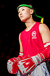 Wong She Ki (Red) of Hong Kong enters to the ring prior the female muay 54KG division weight bout against Kim Heejung (Not in picture) of South Korea in during the East Asian Muaythai Championships 2017 at the Queen Elizabeth Stadium on 12 August 2017, in Hong Kong, China. Photo by Yu Chun Christopher Wong / Power Sport Images