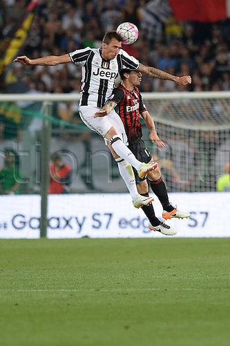 21.05.2016. Stadio Olimpico, Rome, Italy. Coppa Italia Final. AC Milan versus Juventus. Mandzukic in action