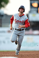 Lowell Spinners designated hitter Sam Travis (40) running the bases during a game against the Batavia Muckdogs on July 18, 2014 at Dwyer Stadium in Batavia, New York.  Lowell defeated Batavia 11-2.  (Mike Janes/Four Seam Images)